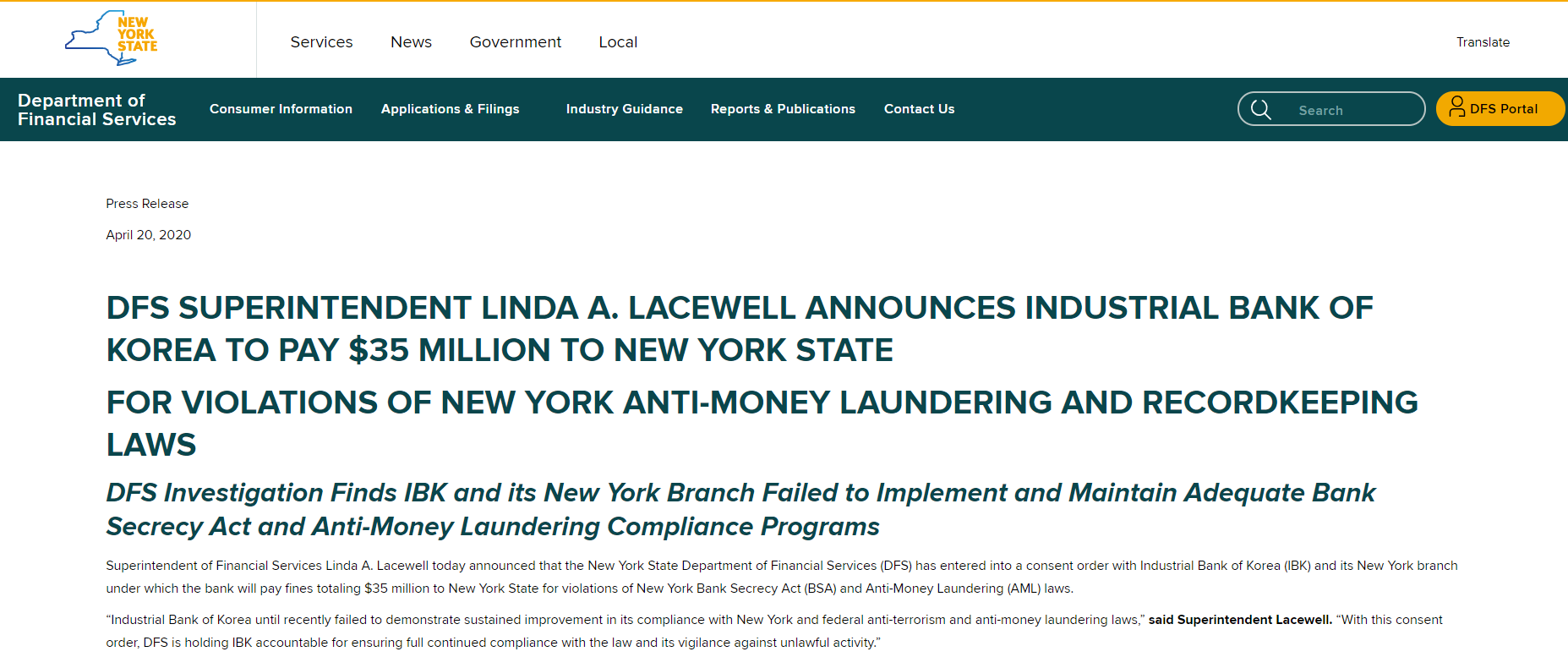 IBK New  York Branch Fined $86 Million for Violations of Anti-Money Laundering